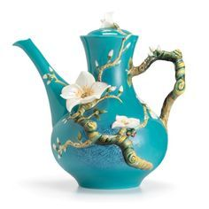 "I want: Van Gogh Almond Flower Teapot. A painting come to life, this lavishly detailed, Vincent van Gogh-inspired teapot is based on the Dutch artist's ""Almond Blossom"" piece SGD Almond Flower, Almond Blossom, Cherry Blossom, Teapots Unique, Modern Teapots, Teapots And Cups, Tea Service, Fine Porcelain, Porcelain Tiles"