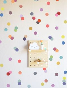 muted rainbow confetti dots wall decal...
