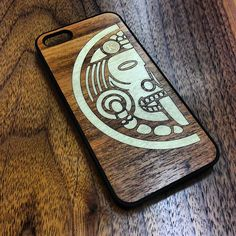 Tigerwood and Maple Aztec Sun God iPhone Case by Keyway Designs!