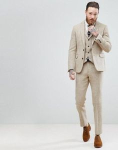 ASOS - Costume slim en tweed Harris 100% laine à chevrons - Taupe at asos .com 811d58ccfbc