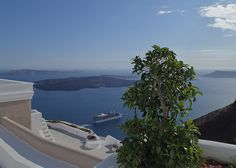 High atop the caldera with stunning views of the Aegean Sea...