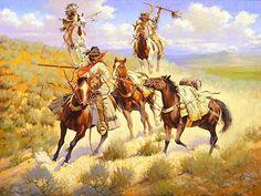 "No Time for Talking by Edward Holmes ~ kp"" Native American Artwork, Native American Indians, Bev Doolittle, Eskimo, West Art, Cowboy Art, Le Far West, Country Art, Mountain Man"