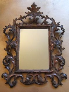 mirror antique victorian ornate cast iron filigree heavy wall vintage goldendaysgoneby antiques on artfire
