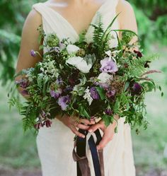 Lush organic bouquet with herbs +purple flowers