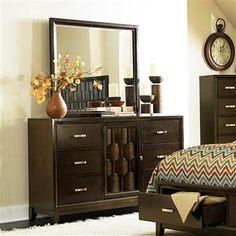 Darien Modern Rich Espresso Wood Glass Dresser