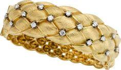Estate Jewelry:Bracelets, Diamond, Gold Bracelet. ... Image #1