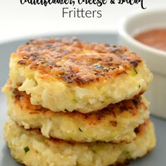 Cauliflower Cheese and Bacon Fritters Recipe Side Dishes, Lunch with cauliflower, medium zucchini, back bacon rashers, self raising flour, parmesan cheese, cheese, garlic cloves, onion flakes, eggs, water, salt, pepper, olive oil