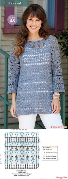 La túnica color lila chiné. - todo en azhure... (La labor de punto por el gancho) - el País de las Mamás // Елена Карпенко