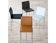 VIENNA - Recycled leather counter stool 26'' - White