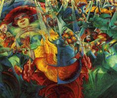 Umberto Boccioni - Laughter  Boccioni was an Italian Futurists painter and sculptor. Like other Futurists, his work centered on the portrayal of movement (dynamism), speed, and technology.