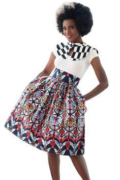 Reddish African Print High Waist Full Skirt Midi Skirt Size UK 10-12