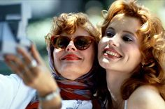 'Thelma & Louise' - This glorious 1991 film stars Geena Davis and Susan Sarandon as two best friends whose road trip takes an unexpectedly perilous turn. Be sure to keep an eye out for a young Brad Pitt, whose career was launched by the film. Thelma Louise, Susan Sarandon, Geena Davis, 10 Film, Iconic Movies, Old Movies, 1990s Movies, Clint Eastwood, Brad Pitt