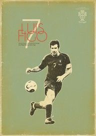 Aged-looking football (soccer) poster featuring Luis Figo God Of Football, Football Icon, Retro Football, Football Art, World Football, Football Stadiums, Superstar Football, Soccer Art, Soccer Poster
