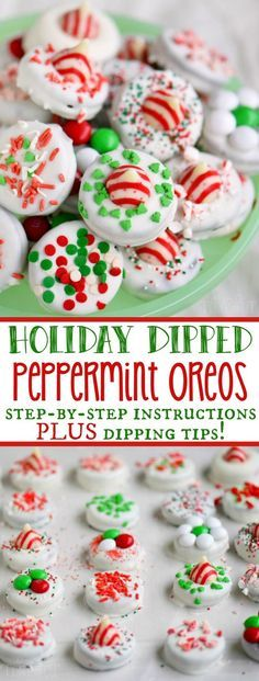 Christmas Cookies – hese Holiday Dipped Oreos make an inexpensive and festive gift for Christmas! Mini Desserts, Holiday Cookies, Holiday Baking, Christmas Desserts, Holiday Treats, Holiday Recipes, Christmas Recipes, Christmas Ideas, Oreo Desserts