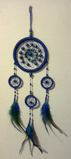 Azul com miçangas Dream Catcher, Home Decor, Dream Catchers, Craft, Mandalas, Blue, Manualidades, Dreamcatchers, Decoration Home