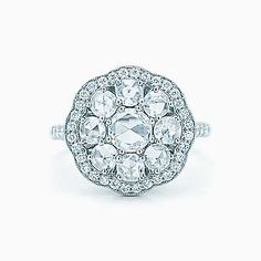 Tiffany Enchant® fleur ring in platinum with diamonds.