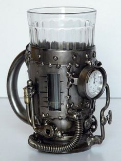 Steampunk fashion - Steam boiler (tea glass holder with thermometer)