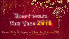 Happy Lunar New Year 2016 with Viet Nam We will discount 15% for all extensions on CMSmart as a red envelope, this time is start at 28, January 2016 end at 12.00 am on 03 February 2016 http://cmsmart.net/blog/happy-lunar-new-year-2016-with-viet-nam.html