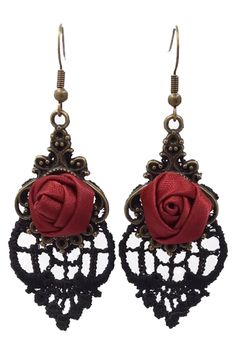 The Atomic Black Lace and Rose Earrings is a beautiful pair of gothic earrings that can complete your gothic or cosplay ensemble. It features a rose embellishment with a floral black heart lace design and french hooks. Gothic Earrings, Black Earrings, Gothic Jewelry, Antique Jewelry, Gothic Accessories, Halloween Jewelry, Black Jewelry, Lace Design, Designer Earrings