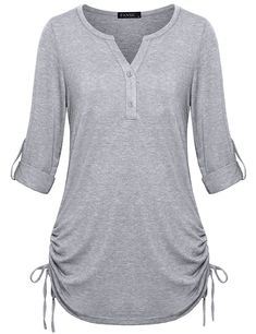 Women's Clothing, Tops & Tees, Henleys, Shirts Henley Flattering X Large - Light Gray - C2185U7WMEI #style #fashion #Tops #Tees #outfits #Clothing #Henleys
