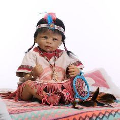 "22""Very Popular RARE Native American Indian Reborn Baby Doll 