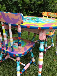 Kids Table and Chairs, Table and Chairs for Kids, Children's Table and Chairs Set, Personalized Table and Chairs for Kids Painted Rocking Chairs, Hand Painted Chairs, Whimsical Painted Furniture, Hand Painted Furniture, Funky Furniture, Repurposed Furniture, Bohemian Furniture, Painting Kids Furniture, Painting For Kids