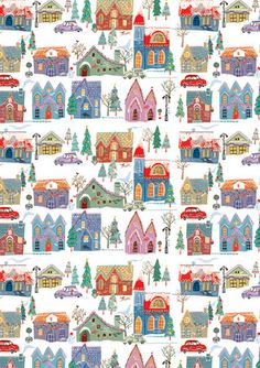 Muted Houses PatternClick here for more details