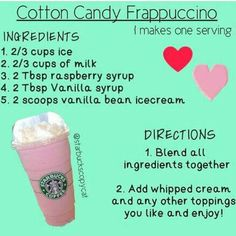 Make Your Own Cotton Candy Frappe Starbucks Hacks, Starbucks Frappuccino, Cotton Candy Frappuccino, Bebidas Do Starbucks, Secret Starbucks Recipes, Starbucks Secret Menu Drinks, Starbucks Cup, Cotton Candy Starbucks Recipe, Milk Shakes