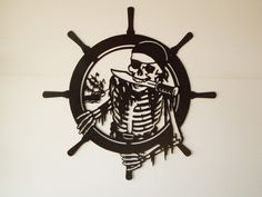 Pirate Skeleton Metal Wall Art by SunsetMetalworks on Etsy