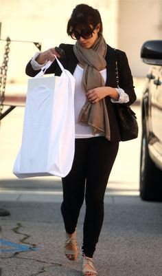 Kim Kardashian wearing Elizabeth  James Elizabeth IV blazer Givenchy Cutout Jelly Flats in Clay Chanel Jumbo XL Quilted Flap Bag LnA Olivia Knit Ruched Leggings LnA Layering Tank In White DVB 3 Sunglasses. Kim Kardashian Shopping in Los Angeles February 19 2009.