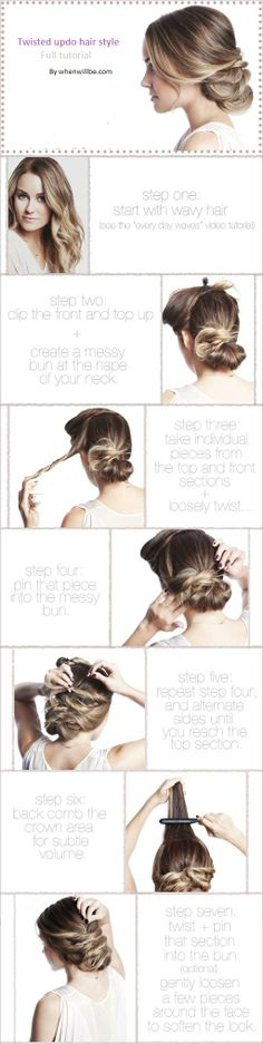 ... Twisted updo hair style step by step instructions in summer