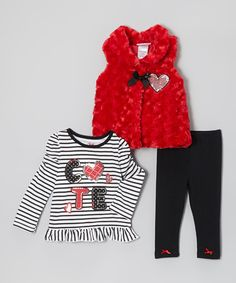 Another great find on #zulily! Red Sparkle-Heart Vest Set - Infant, Toddler & Girls #zulilyfinds
