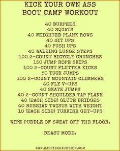 BOOT CAMP workout you can do at home! Designed by the personal trainer & combat veteran I'm married to. For more workouts and fitness tips, visit www. Fitness Workouts, At Home Workouts, Fitness Tips, Fitness Motivation, Health Fitness, Hard Core Workouts, Hard Workout, Cardio Workouts, Group Fitness