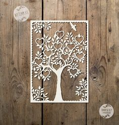 12 Name Natural Family Tree Design SVG / PDF - Papercutting/Vinyl Template to personalise and cut yourself (Commercial Use)