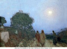 Artist: Henry Ossawa Tanner Title: Christ and His Disciples on the Bethany Road  Medium: Painting-oil on canvas Dimensions: 94.93cmX 121.44 Location:Musee d'Orsay