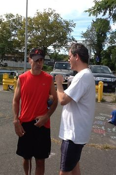Talking with Councilman Jimmy Oddo at the Stickball Classic.