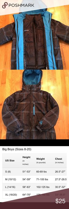 3-1 System Jacket 10-12 ZeroXposur 3-in-1 system jacket size M (10-12). Black with blue accents. They can wear the water-resistant shell with the liner zipped in for maximum winter warmth. Zip out the inner liner and it's a wearable puffer jacket. Or they can wear the shell on its own in stormy and windy weather. Very versatile jacket with many pockets. It is in very good condition. It was kept in a smoke free home. See pictures for sizing chart. ZeroXposur Jackets & Coats Puffers