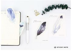 The Plume Series Feather Self-Adhesive Memo Pad Sticky Notes Post It Bookmark School Office Supply