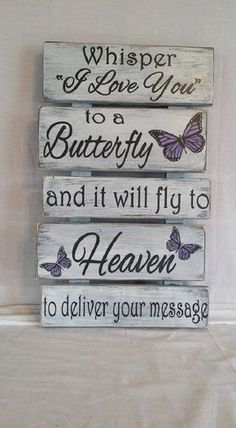 This beautiful sign measures approximately and is a comforting reminder that our loved ones are just a whisper away. It has a rustic pallet wood style that goes great with a country or farmhouse decor. Colors can be customized to meet your needs. Diy Home Decor Projects, Pallet Projects, Home Decor Items, Decor Ideas, Craft Ideas, Pallet Art, Pallet Wood, Wooden Pallet Signs, Wood Pallet Crafts