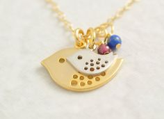 Mother Necklace  personalized necklace gold bird by MegusAttic, $31.00