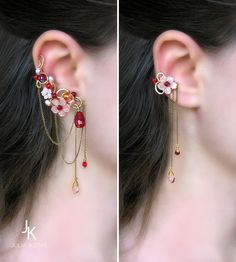"Floral brass ear cuffs with chains and mother of pearl ""Winter plum wine"" JewelryJS especially love the smaller cuff Jewelry Design Earrings, Ear Jewelry, Cute Jewelry, Bridal Jewelry, Jewelry Accessories, Fashion Accessories, Fashion Jewelry, Jewelry Making, Skull Jewelry"