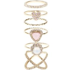 Accessorize Pretty Crystal Styling Ring Set ($29) ❤ liked on Polyvore featuring jewelry, rings, accessories, jewels, crystal jewelry, crystal jewellery, crystal rings, crystal stone jewelry and crystal stone rings