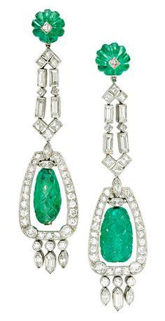 Earrings  1930 Emerald and diamonds
