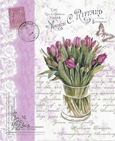 Purple tulips in clear vase with butterfly, postmarks, stamp on a French ad