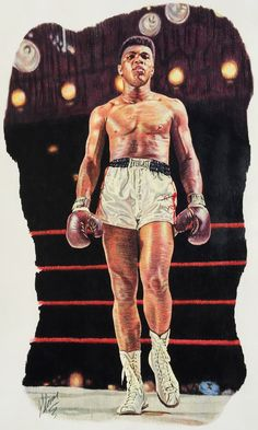 """Muhammad Ali by Matthew Glover. Colored pencil 18"""" x 29"""""""