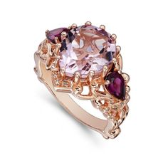 Dallas Prince Pink Amethyst, Rhodolite Garnet and Diamond Ring - This looks incredible in person.