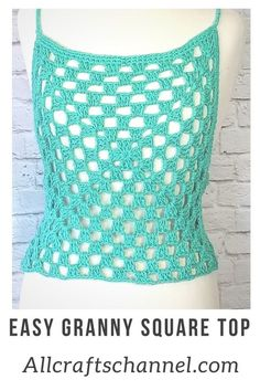 This easy to Crochet Granny Square Top is perfect for summer. It makes a great cover up over a bikini top or wear over a light tank top. The top works up quickly and looks great. This is a beginner level crochet project. #Grannysquaretop #Summertop #Summerwear #CrochetTop #EasyCrochet #Freecrochetpattern #Beginnercrochet #CrochetSummerTop #Grannysquare