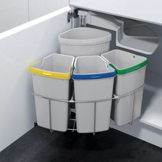Kitchen Trash & Recycling OKO-3 - Oeko Waste Center for under your sink cabinet for your kitchen, laundry or even your garage.