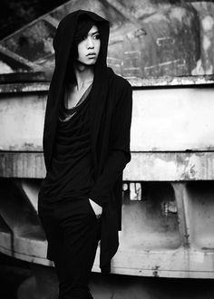 Black hooded draped cardigan