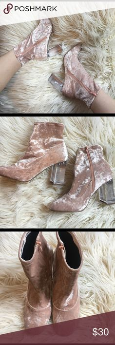 ASOS Pink Velvet Boots ASOS Eagle clear heel velvet sock boots! Size 8.5 US, and UK 6. Brand new in box only tried on at home! Will ship in Original box if you require a receipt I can show proof of purchase. Super comfy and FUN! 🎀 15% off when you bundle 2 items! 🎀 ASOS Shoes Heeled Boots